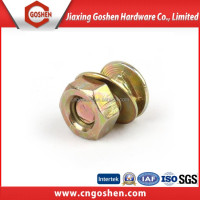 GS color zinc plated flat head carriage bolt with washer and nut