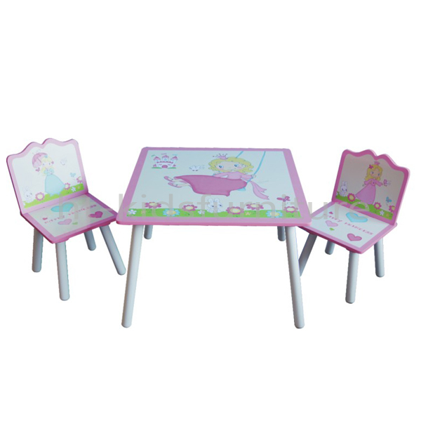 HT-HPTC01 E1 MDF Silk Screen Print Easy Assembly Wood Children Table And Chair Set, Non-toxic Material Kids Wooden Furnitures