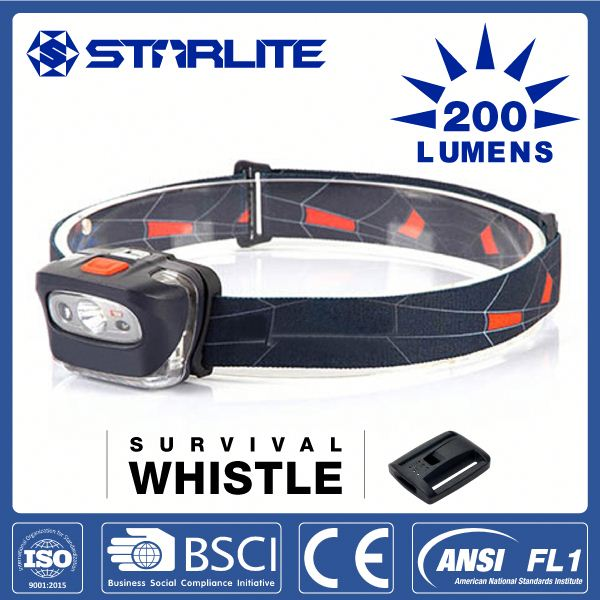 STARLITE survival whistle function RED SOS mini emergency led head lamp