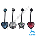 black bioflex belly ring piercing cz stone jeweled body jewelry