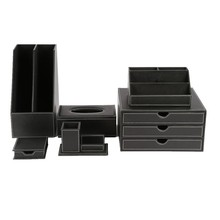 Black Business Leather Office Stationery Desk Collections Sets