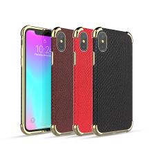 Electroplating Metal Cover Hybird Hard TPU+PC Shockproof Armor Back Case for iPhone X