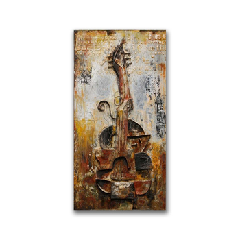 Rustic Guitar Handmade Musical Instrument Painting 3D Art