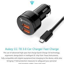 Aukey Quick Charge 3.0 Qualcomm QC3.0 36W 2 Ports USB Car charger Adapter for HTC One A9