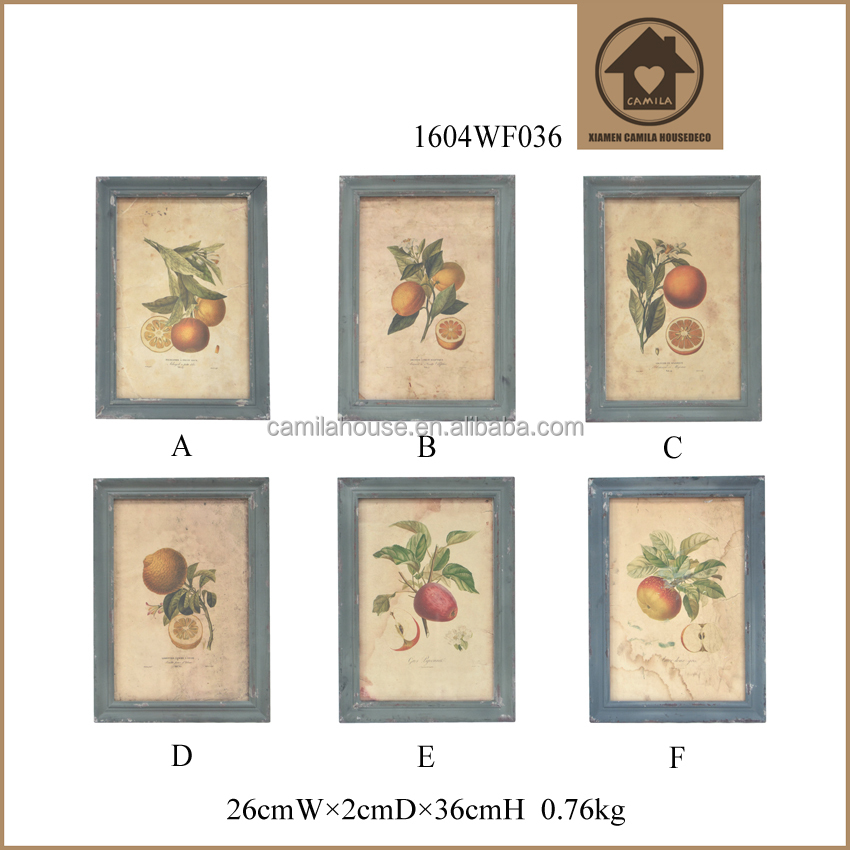 Antique Style Farmhouse Decorative Fruit Glass Painting