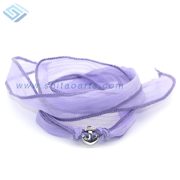 2016 Spring Newest No MOQ Dyed Arm Sari Purple Silk Ribbon Silvery Anchor Bracelet for Women