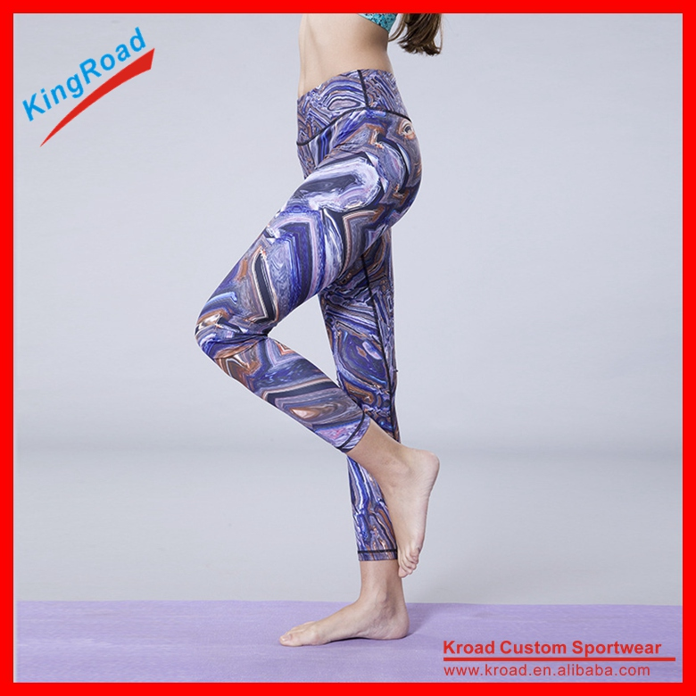 OEM compression training pants with sublimation print custom sport tights