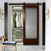 30 in. x 84 in. Modern Full Lite Frosted Glass Stained Walnut Wood Interior Barn Doors with Sliding Door Hardware Kit