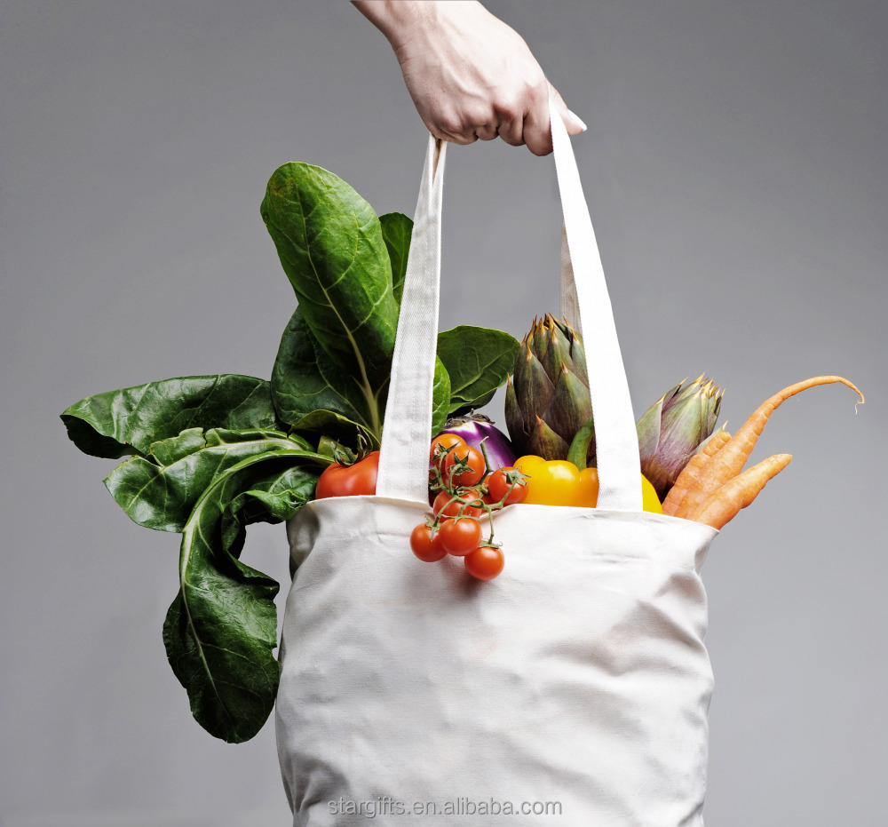Wholesale Promotional Recyclable Plain Reusable Grocery Tote Shopping Cotton Bag