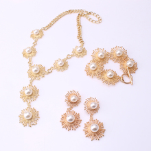 NLX-W0001 fashion design wholesale gold plated necklace bracelet earrings pearl jewelry sets fine jewelry sets