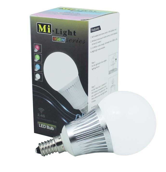 Milight E14 5W RGBCW RGBWW LED bulb with 2.4G 4-Zone wireless RF remote controller multicolor led <strong>lighting</strong>