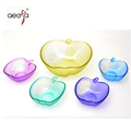 Apple Shaped Glass Salad Bowl Set Color Sprayed Food Container