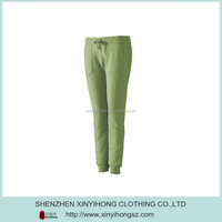 Custom Made Cotton Spandex Woman's Green Sports Long Pants