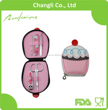 5pcs stainless steel tools printing manicure pouch personalized cute cupcake manicure set