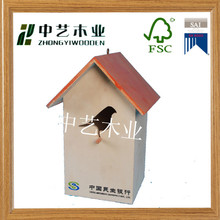 FSC natural pine laser engraved hollow bird feeder bird house wholesale for sale
