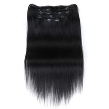 Rebecca silky straight original raw brazilian virgin remy hair 7 piece in one package clip in human hair weave extension