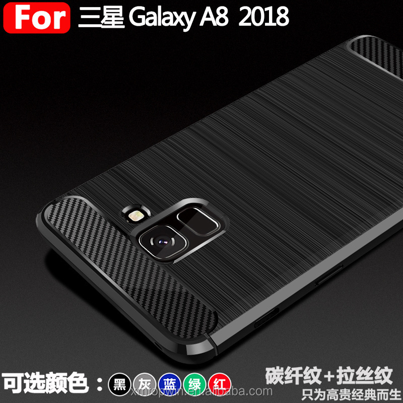 New! High Quality Carbon Fiber Pattern Brush TPU Phone Back Case Cover For Samsung Galaxy A8 2018