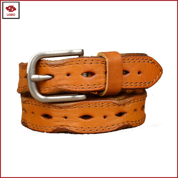 girls holes cutting out top cowhide leather belt men genuine leather belt women jeans top full grain leather belt