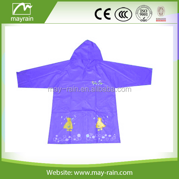 Plastic children Cartoon Raincoat for kids play in rain
