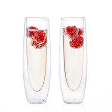 Champagne Flutes Insulated Stemless Glass Set Flute Glass for Brunch Wine Wedding Cocktails Reusable Party
