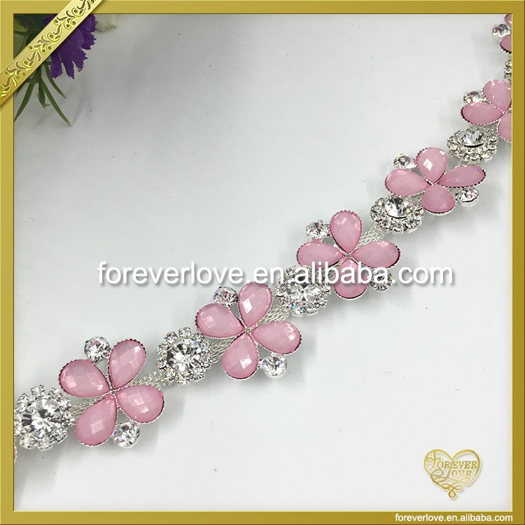 Pink stone chain for bags accessory FC-640