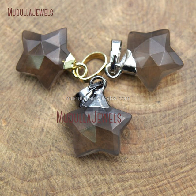 PM9872 Faceted Smoky Quartz Fancy Star Cut Pendant Gold Silver Black Plated Single Bail Smoky Quartz Pendant Jewelry Supplies