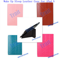 High Quality Wholesale Cheap Leather Stand Wake Up Sleep Case for iPad 5 iPad AIR