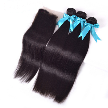 Professional Cheap Hair Wefts 100% Peruvian Straight Hair Extension With Lace Closure