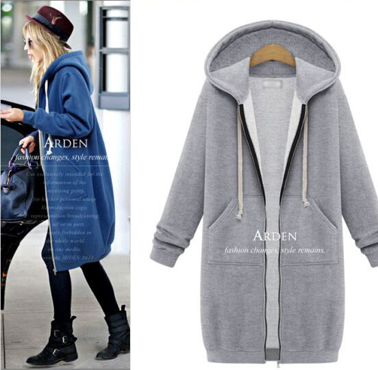 100 cotton custom zip up women long hoodies