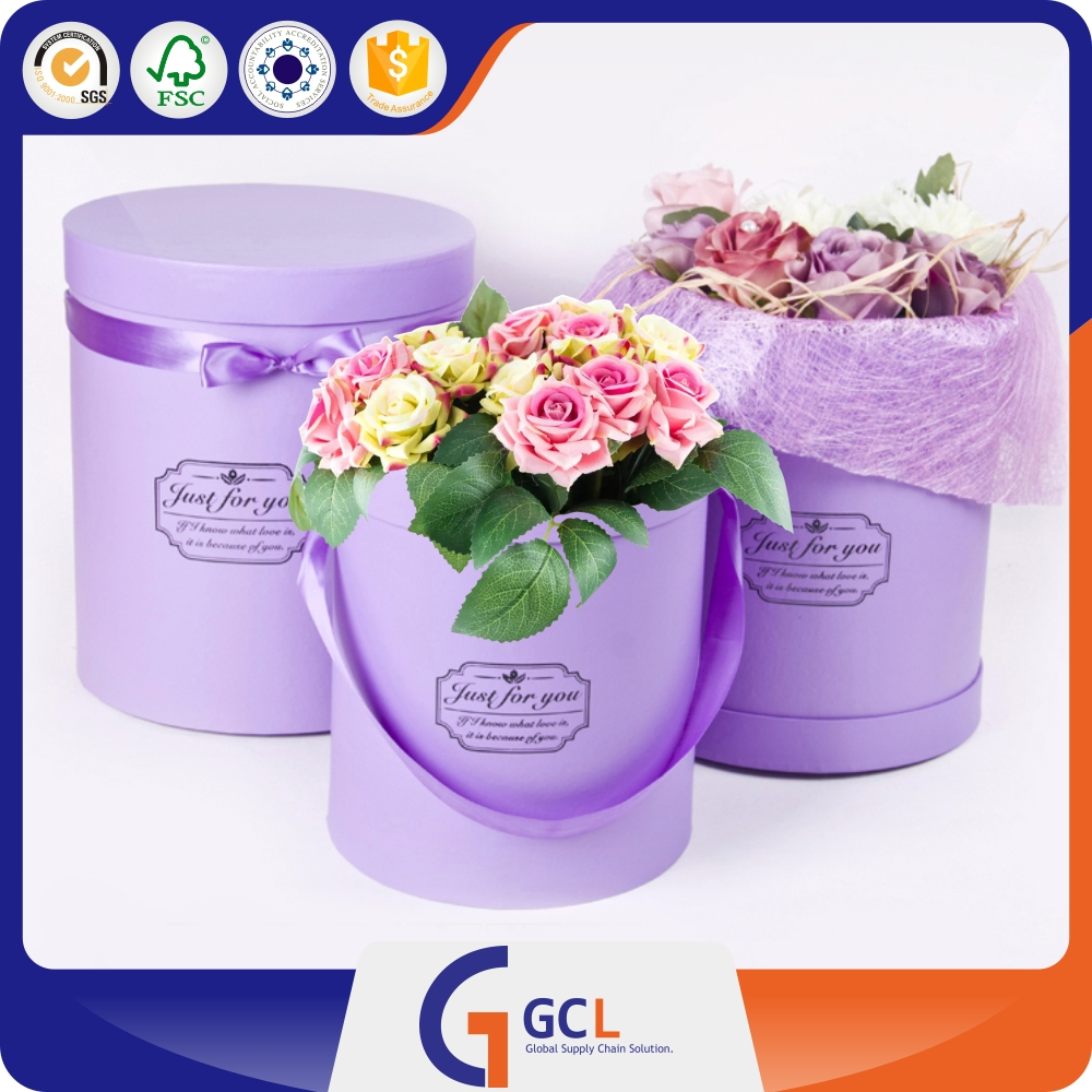 luxury Round cardboard packaging boxes shipping box for flower bouquet boxes