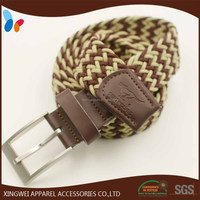 custom logo mix color woven elastic man belt with pin buckle