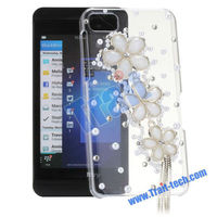 3D Flower Transparent Cute PC + Bling Cover Case for BlackBerry Z10