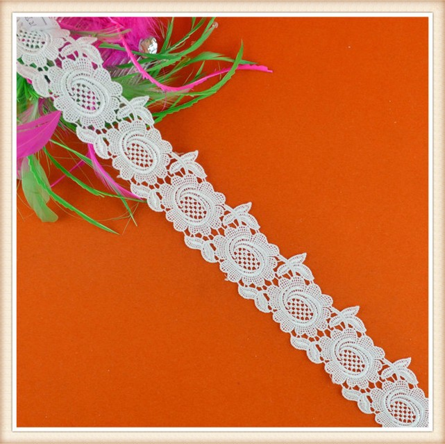 Fancy rose design guipure lace for decoration on dres for decoration on dress/garment latest