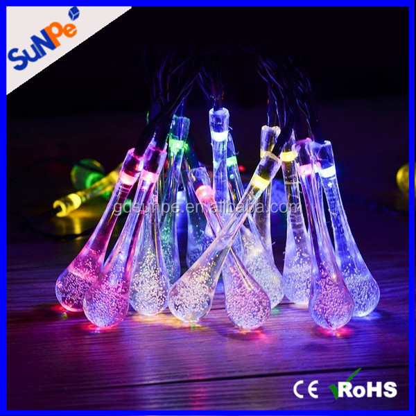 Led Icicle Lights Solar Powered Raindrop Garden Tree String Fairy Lights Waterproof Decorative Outdoor Led Chritsmas Lights