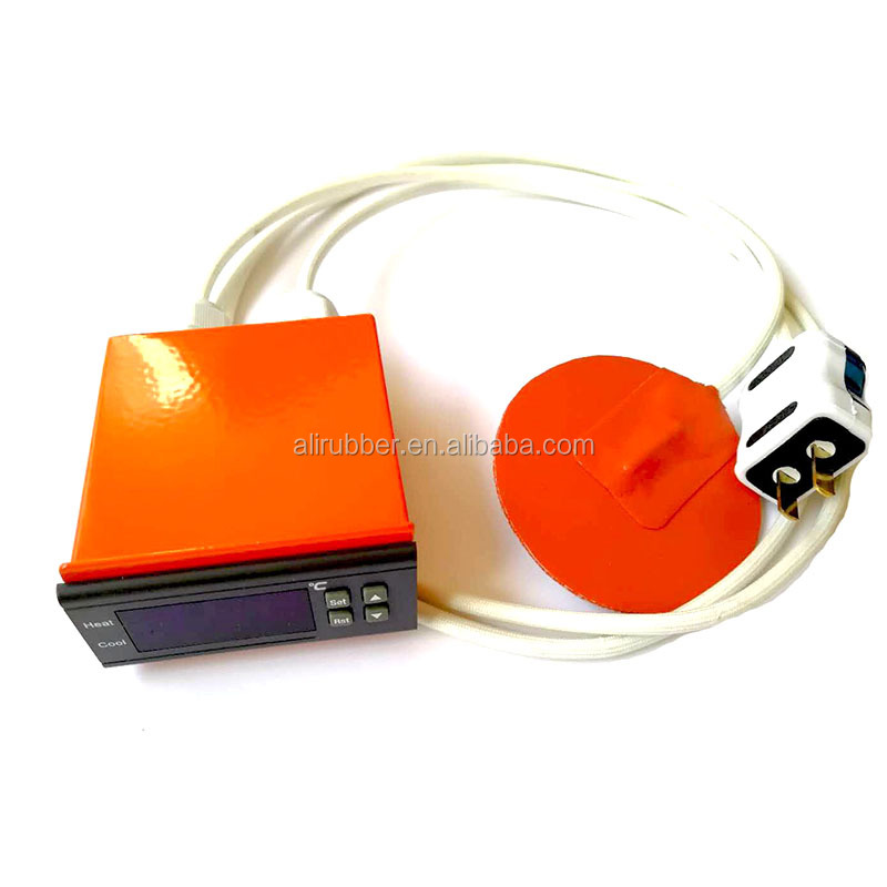 Round 3d printer heat bed   Silicone Rubber Heater 220v 45w Diameter 80*1.5mm adhesive  digital thermostat & plug 1000mm lead
