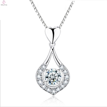 Fashion Heart Hook 925 Silver Jewelry Drop Necklace Pendant