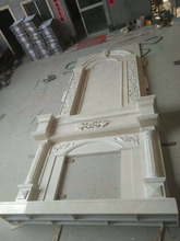 Indoor white marble fireplace, Stone fireplace mantel