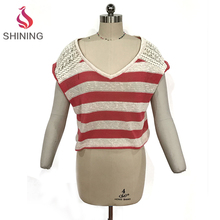 Red and white stripes Loose cropped t shirts knitting wholesale women t shirts