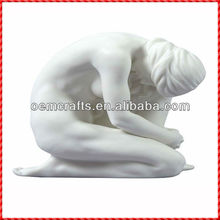 Art work Naked woman Statue On Her knees Resin Figurine