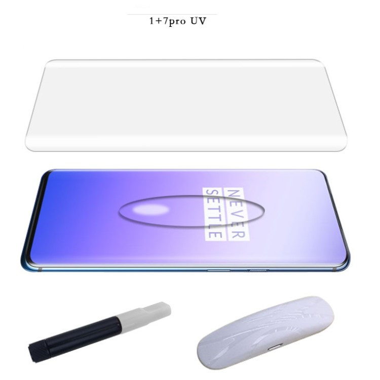 <strong>1</strong> + 7 Pro 3D Curved Glass Full Glue UV Glue Full Cover Tempered Glass Screen Protector For Oneplus 7 7T Pro