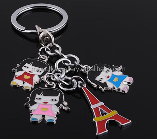 Wedding gift jewelry enamel rhodium plating paris souvenir keychain