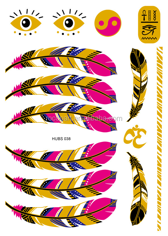 2016 Waterproof Tattoo Glitter Body Art Paint Gold Temporary Tattoo Stickers Feather Design Metallic Tattoo