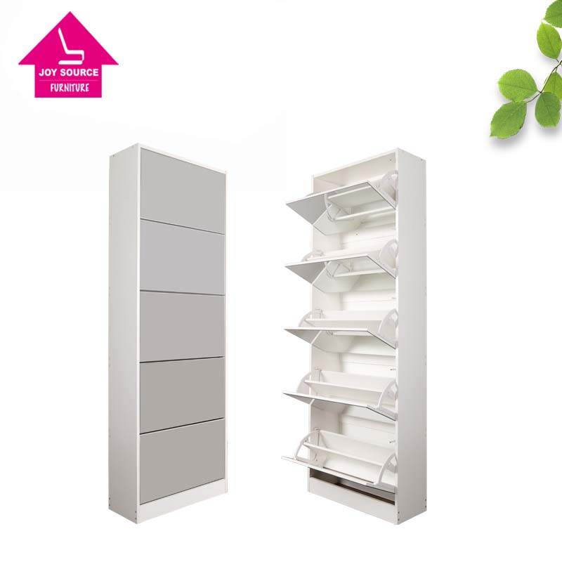 5 door shoe cabinet with mirror