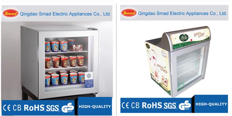 Description 21l 100l Small Portable Mini Countertop Glass Door Ice Cream Display Freezer