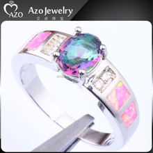 Elegant Women's 925 Sterling Silver Opal&Mystic Topaz Fake Wedding Rings