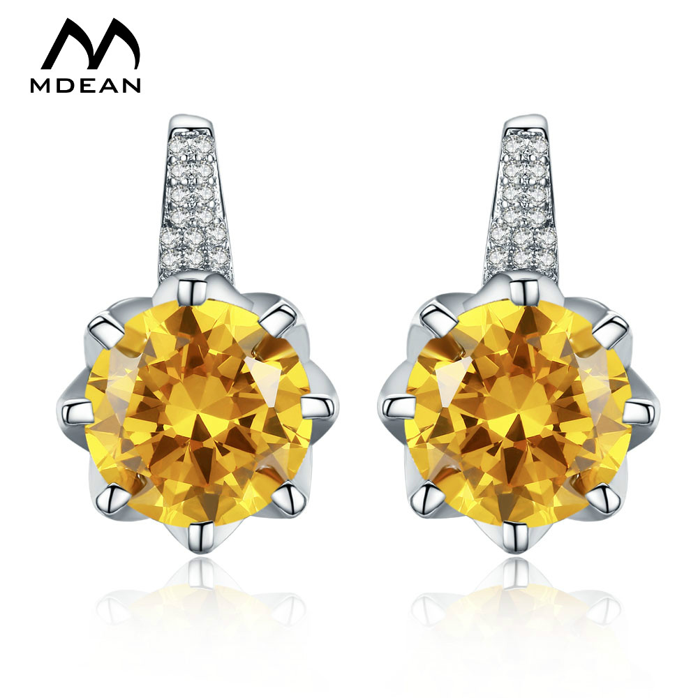 White Gold Color Drop Earrings for Women Yellow AAA Zircon <strong>A006</strong>