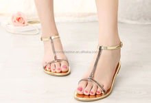 Monroo 2014 new style flat roman leather cushion flat diamond women sandals
