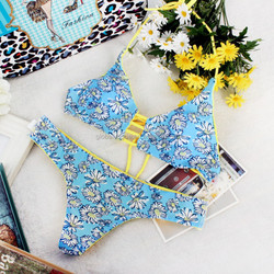 New Fashion Women Sexy Print Flowers Bikini Set Retro Swimwear Swimsuit Beach Bathing Suit Size S,M,L