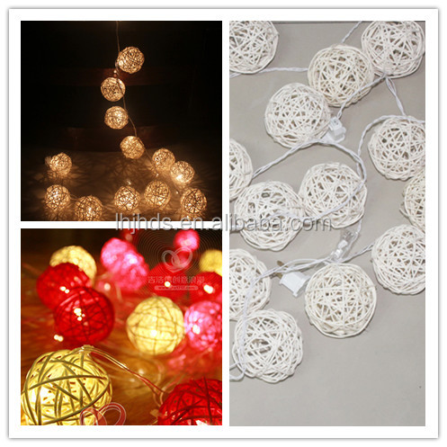 10 rattan ball battery operated light, christmas lights Indoor use