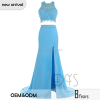 2017 Latest Full-length beautiful lace appliqued 2 piece light blue long prom dress